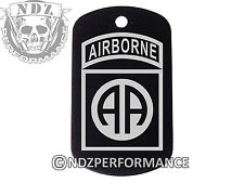 Dog Tag Military ID K9 Chain Silencer Laser Engraved BLK Airborne 82nd