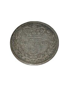 Queen Victoria silver Three pence 3p coin dated 1883