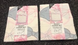 Disney Double Single Duvet Cover Set Minnie Mouse Bow Reversible