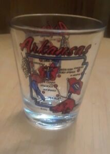1993-Arkansas-State-Clear-Shot-Glass-2-1-4-034-Tall-Red-Writing