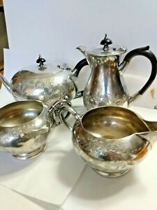 Antique-Silver-Plate-Tea-Coffee-Set-4pc-Victorian-Ornate-Floral-Decoration