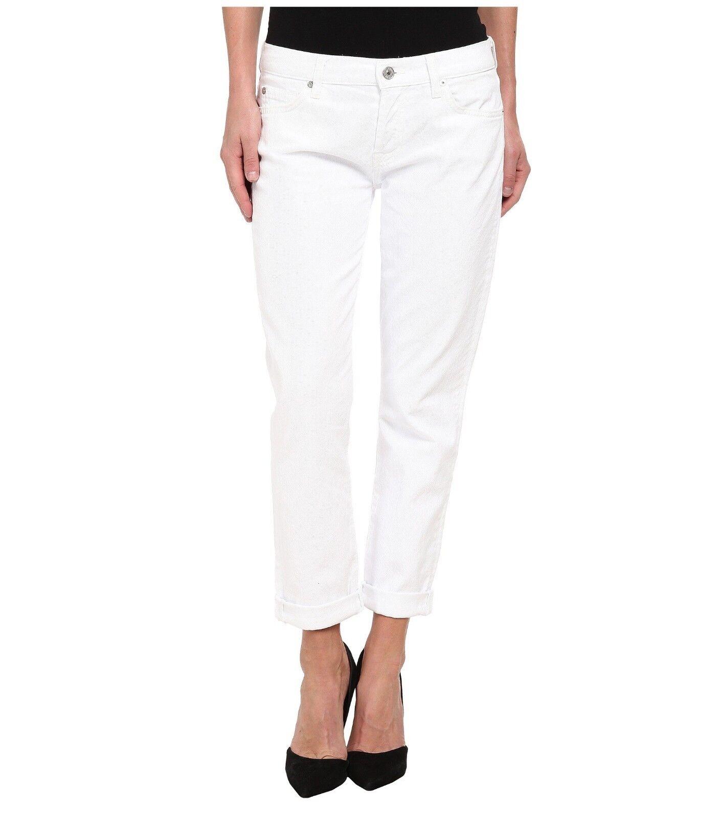 7 For All Mankind Josefina Boyfriend Jeans, Clean White SIZE 25      (E215)