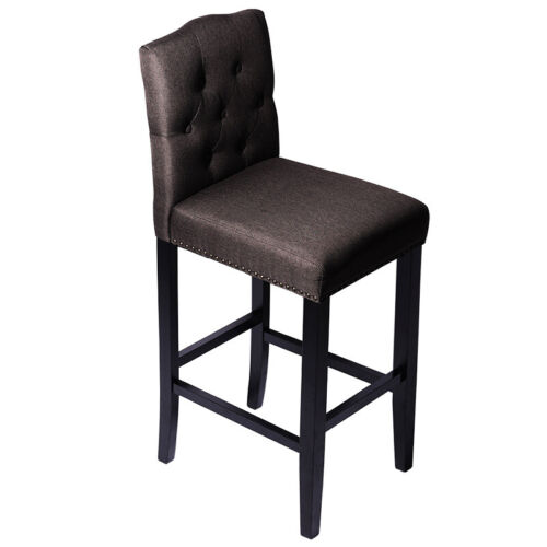 1//2pcs Button Quilted Backrest Barstool Fabric Velvet Padded Dining Chair Lounge