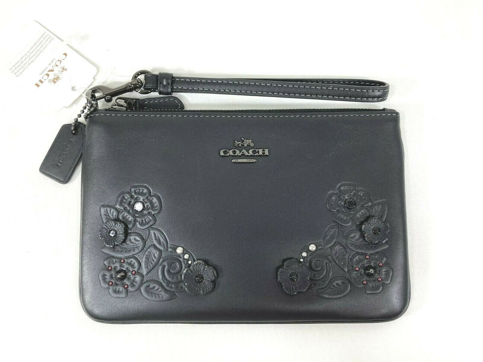 NEW Coach Tea Rose and Tooling Glovetanned Leather Wristlet Wallet Glitter 12056
