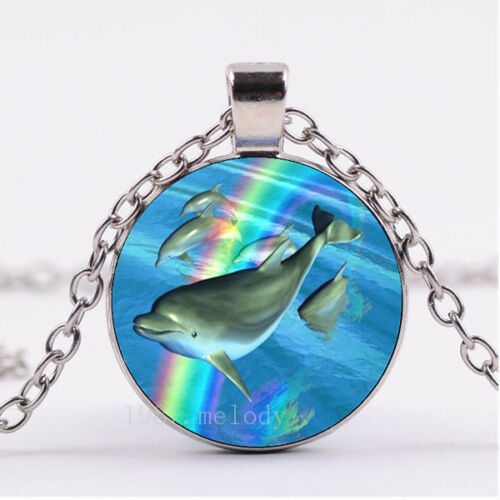 Photo Cabochon Silver popular pendants Glass Necklace(Dolphins and rainbow)