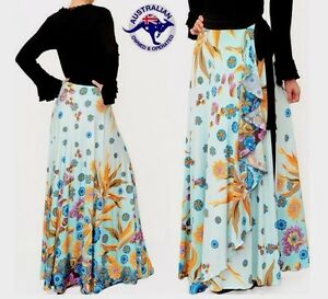 NEW-Ladies-Women-039-s-Wrap-Maxi-Long-Flair-Floral-Skirt-Stretchable-Spandex