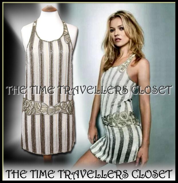 60cf38f4188a2 Kate Moss Beaded Gatsby 20's Flapper Dress Art Deco UK 10