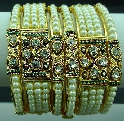 6pcs(2.12)Off-White Pearl Golden MaroonGreen Mena Bridal Metal BangleKada Set-zb