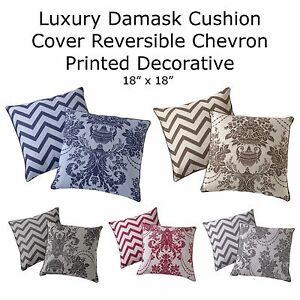 Luxury-Damask-Cushion-Cover-Reversible-Chevron-Printed-Decorative-18-x-18