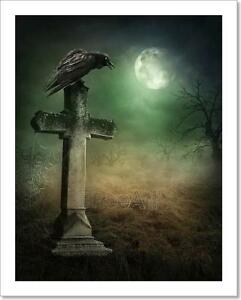 Crow On A Grave Art Print Home Decor Wall Art Poster - C