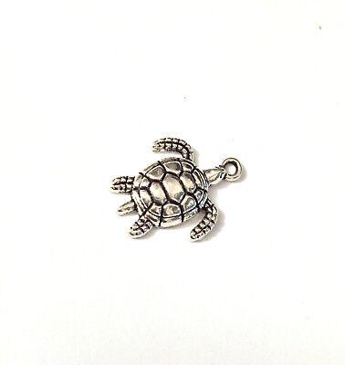 20 Charm Anhänger Schildkröte 19 x 23 mm Meerestier Schildkröten silber Ozean