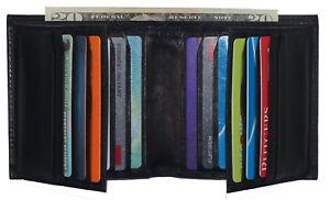 Genuine Leather Mens Bifold 2 ID/'s multi Card Double Flap Popular Wallet Black