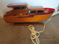 MARITIME HAND MADE WOODEN LIGHTED YACHT MODEL