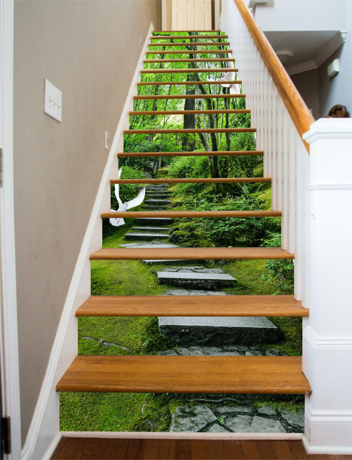 3D Forest road 369 Stair Risers Decoration Photo Mural Vinyl Decal Wallpaper UK