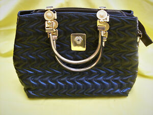 930672a00a3c Image is loading Gianni-VERSACE-Bag-Black-Leather-Bag-Made-in-