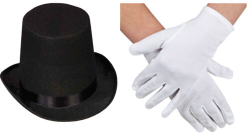ADULT BLACK TOP HAT MAGIC WAND MAGICIAN WHITE GLOVES MAGIC SET FANCY DRESS