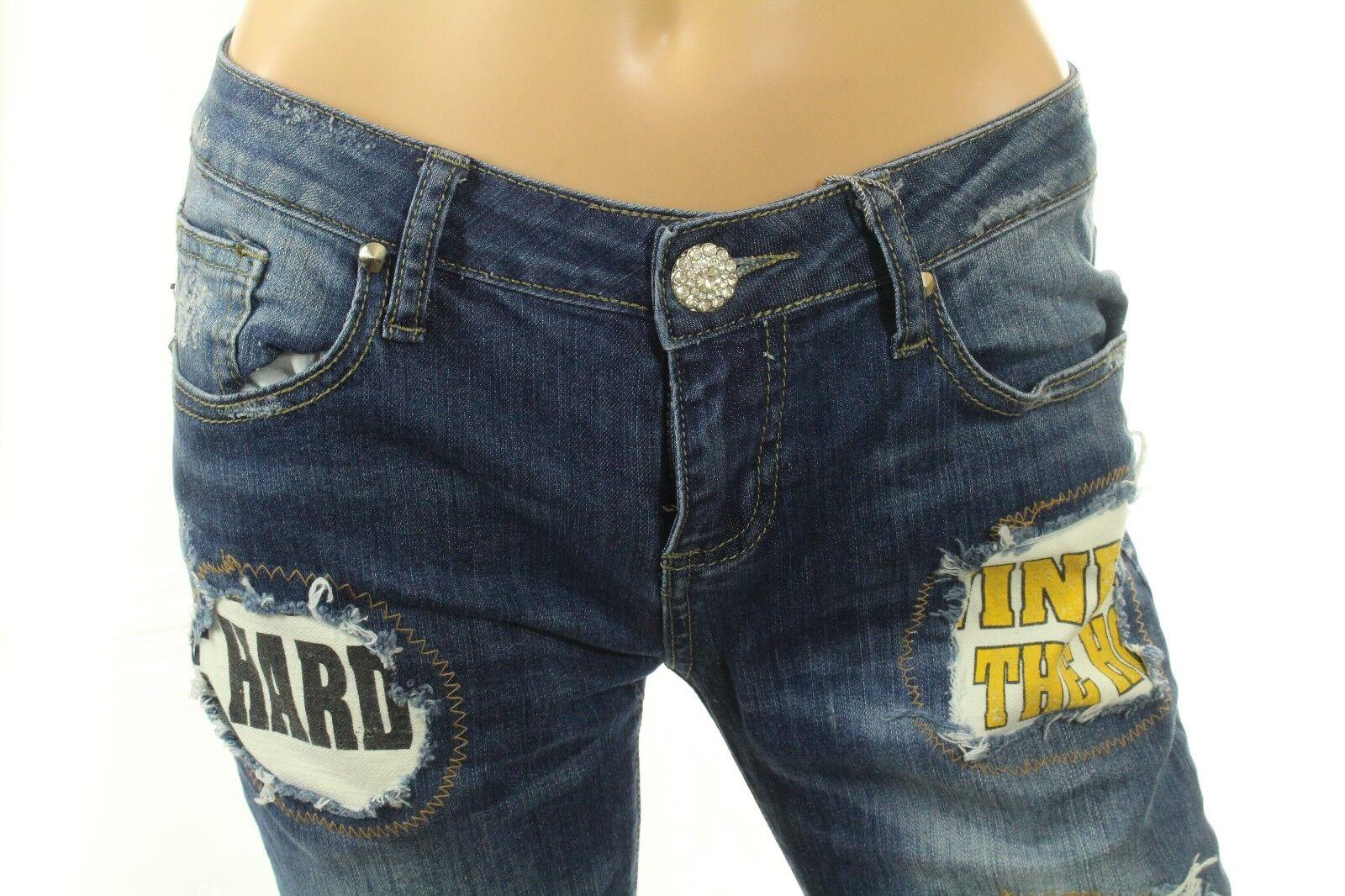 Claudio Milano Skinny Jeans Distressed Patches Swarovski Crystal Size 7