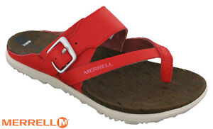 Merrell-Around-Town-Thong-Buckle-Print-Womens-Leather-Walking-Sandals-Red-UK-3-7