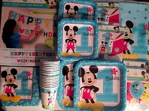 MICKEY MOUSE Fun To Be 1st Birthday Party Supply SUPER Kit w/Jumbo Banner & More