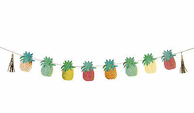 Tropical Fiesta Pineapple Bunting gold foil detail Hawaiian Party Banner Garland