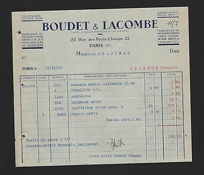 RüCksichtsvoll Paris, Rechnung 1934, Boudet & Lacombe Mercerie Et Fournitures