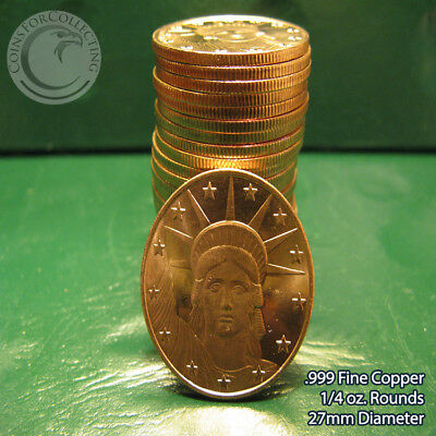 "Coins & Paper Money quarter Oz Rounds Impartial 25 ""statue Of Liberty"" 1/4 Oz .999 Copper Rounds Other Bullion"