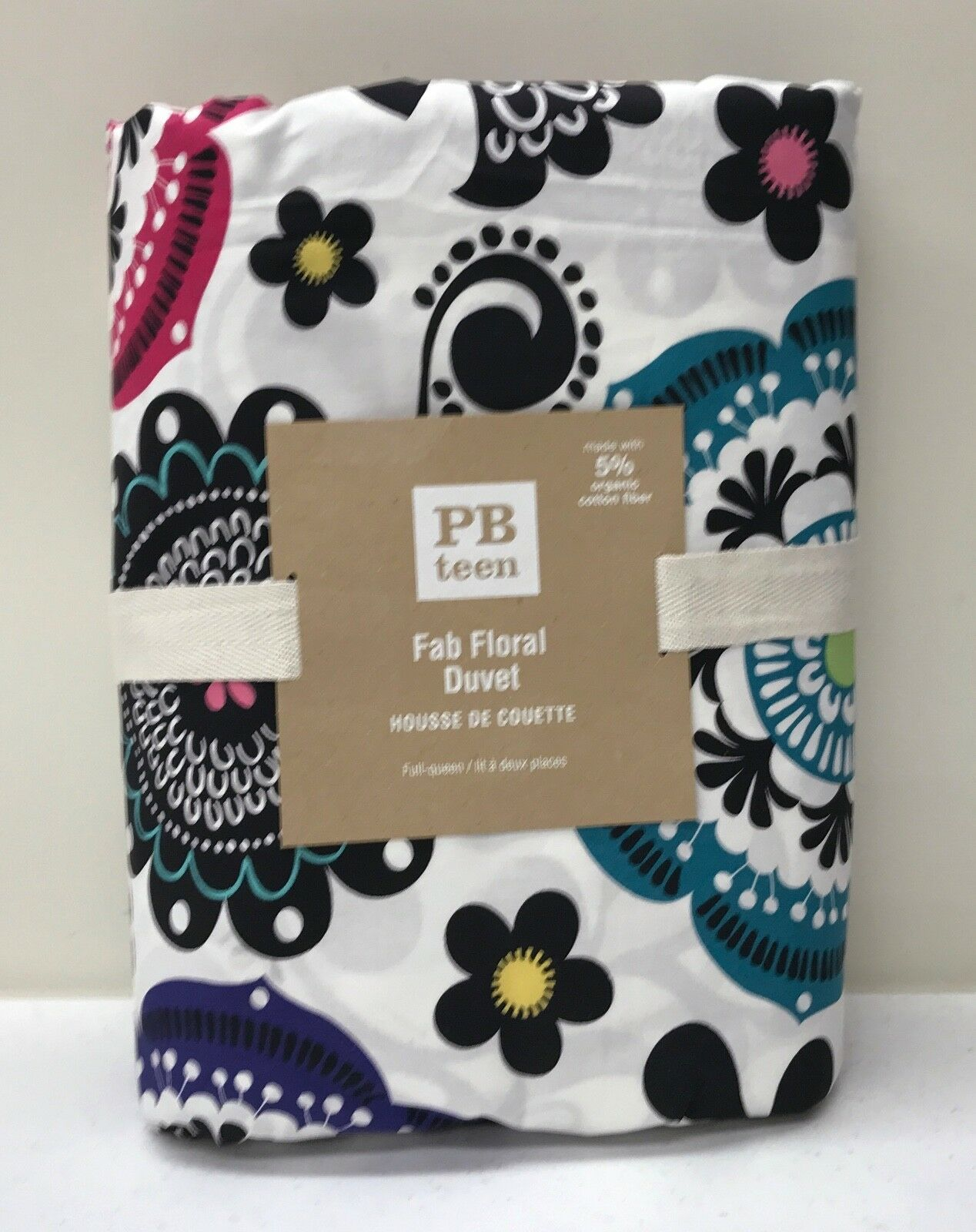 NEW Pottery Barn TEEN Fab Floral FULL QUEEN Duvet Cover
