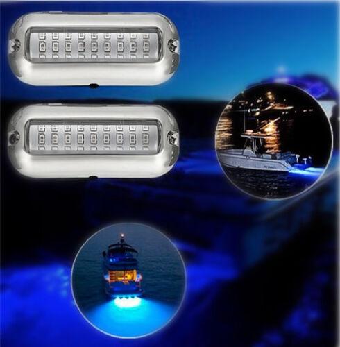 Stainless Steel 27 LED Blue Underwater Pontoon Marine//Boat Transom Light Lamp US