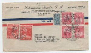 1958 Lettre Colombie Pour La France RéSistance Au Froissement