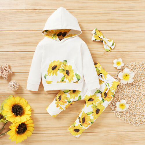 Toddler Baby Girls Outfits Long Sleeve Sunflower Tops+Pants Cotton Clothes Sets