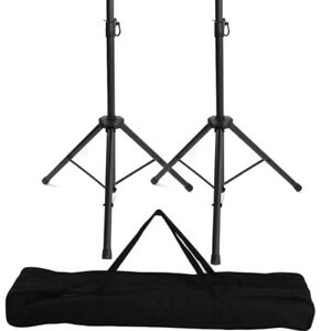 A-Pair-Of-Universal-Tripod-Audio-DJ-PA-Speaker-Stands-Carrying-Bag-US