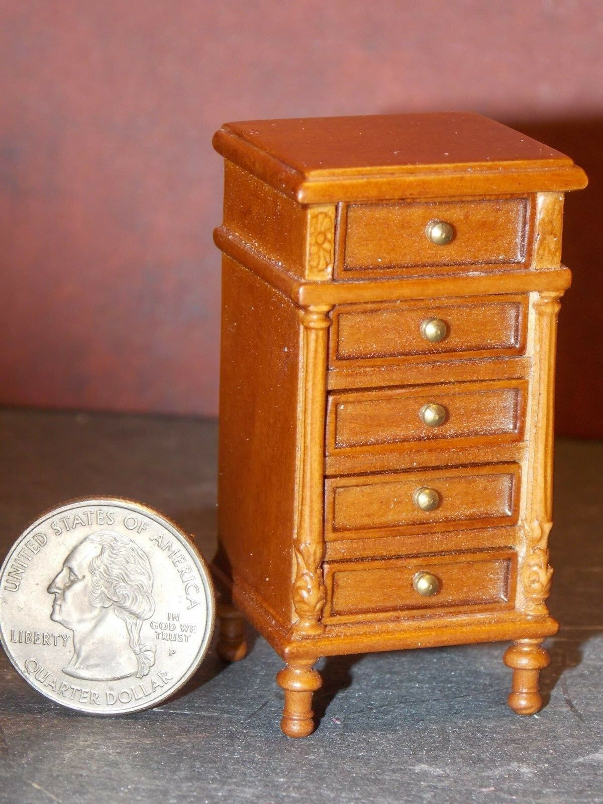 Dollhouse Miniature Bespaq Bedside Chest Walnut 1:12 in scale E12 Dollys Gallery