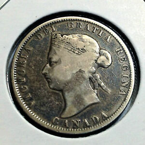 CANADA-1872-H-TWENTY-FIVE-CENTS-STERLING-SILVER-NICE-COLLECTOR-COIN