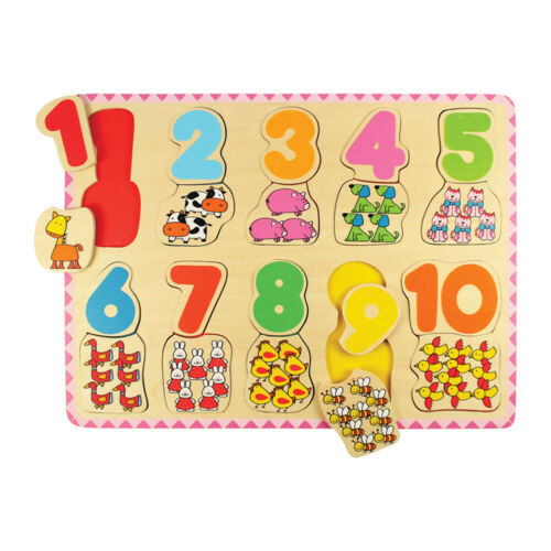 Bigjigs Toys Wooden Number /& Colour Matching Jigsaw Puzzle Learn Count