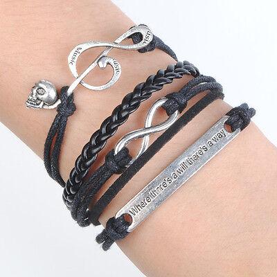 Infinity Music Skull Antique Silver Charm Black Leather Cute Bracelet B487