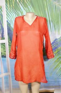 CYN BY CYNTHIA MEHRA NEW NWT Sheer Orange Patterned Swim Beach Cover Up One Size