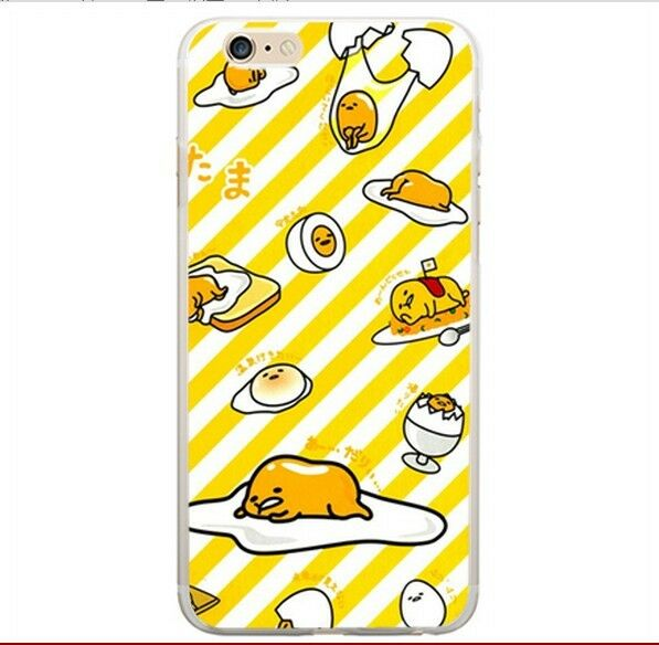 Gudetama yellow strpe egg Silicon phone case holder for Iphone 5s /5c/6/4s CP87