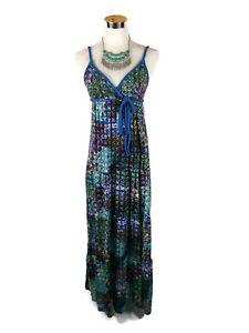 IMPULSE-Dress-Vintage-Retro-Style-Boho-Hippy-Maxi-Tiered-Blue-Purple-Green-8