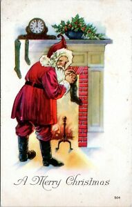 Antique-Santa-Claus-Red-Robe-Fireplace-Stockings-Christmas-Postcard