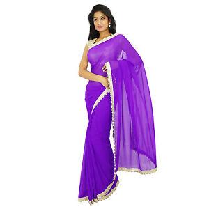 Indische-traditionelle-Party-tragen-Sari-Designer-lila-Georgette-Hochzeit-Saree
