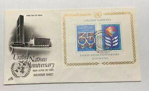 Nazioni UNITE 35th ANNIVERSARIO 1945 - 1980 primo giorno emissione postale COVER FDC