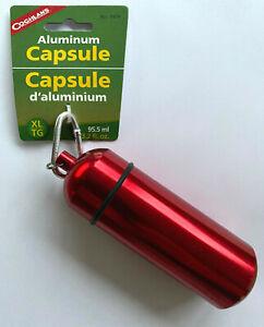 Coghlans-Aluminium-Notfall-Kapsel-Aufbewahrung-EDC-Survival-Karabiner-XL-rot
