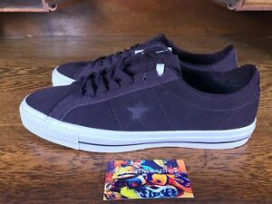 Converse One Star Pro Men Skate Shoe Suede Black Cherry White Sz 9.5 ... 883f107522a