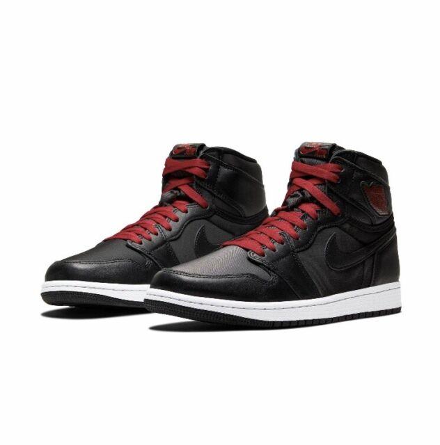 Nike Air Jordan Retro 1 High OG Black Satin Gym Red 555088-060 Men's Size 10.5