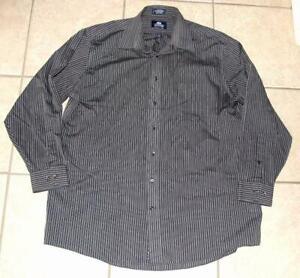 Mens-17-1-2-34-35-Gray-Striped-Button-Up-Long-Sleeve-STAFFORD-SUPER-Shirt