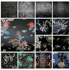 Jacquard Damask Kimono Fabric Material BL21 Red Background Faux Silk Brocade