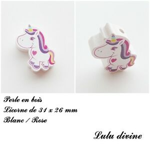 Perle-en-bois-de-31-x-26-mm-Perle-plate-Licorne-Blanc-Rose