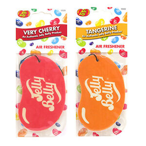 2 x JELLY BELLY 2D BEAN SWEETS SCENT CAR AIR FRESHENER - CHERRY TANGERINE