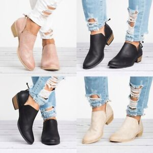Details about Women Ankle Boots Cut out Low Block Heel Casual Sandals Short Booties Pump Shoes