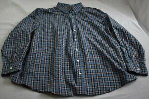 Men-039-s-Croft-amp-Barrow-2XB-Easy-Care-Blue-Plaid-Long-Sleeve-Button-Up-Shirt